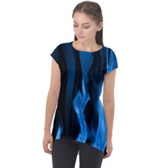 Smoke Flame Abstract Blue Cap Sleeve High Low Top