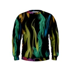 Smoke Rainbow Colors Colorful Fire Kids  Sweatshirt