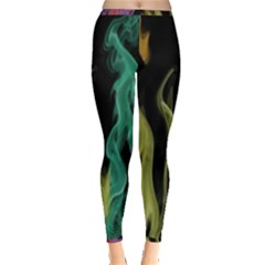 Smoke Rainbow Colors Colorful Fire Inside Out Leggings