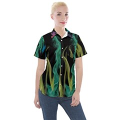 Smoke Rainbow Colors Colorful Fire Women s Short Sleeve Pocket Shirt
