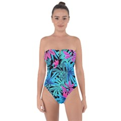 Leaves  Tie Back One Piece Swimsuit