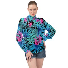Leaves  High Neck Long Sleeve Chiffon Top