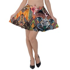 Tropical Paradise Velvet Skater Skirt by tarastyle