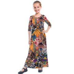 Tropical Paradise Kids  Quarter Sleeve Maxi Dress by tarastyle