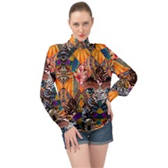 Tropical Paradise High Neck Long Sleeve Chiffon Top by tarastyle