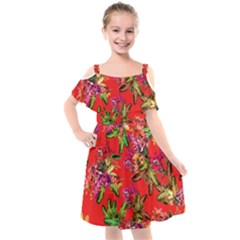 Tropical Paradise Kids  Cut Out Shoulders Chiffon Dress by tarastyle
