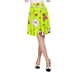 Valentin s Day Love Hearts Pattern Red Pink Green A-line Skirt by EDDArt