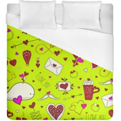 Valentin s Day Love Hearts Pattern Red Pink Green Duvet Cover (king Size) by EDDArt