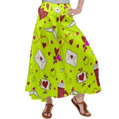 Valentin s Day Love Hearts Pattern Red Pink Green Satin Palazzo Pants by EDDArt
