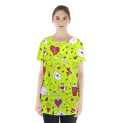Valentin s Day Love Hearts Pattern Red Pink Green Skirt Hem Sports Top by EDDArt