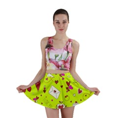 Valentin s Day Love Hearts Pattern Red Pink Green Mini Skirt by EDDArt