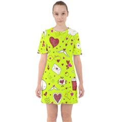 Valentin s Day Love Hearts Pattern Red Pink Green Sixties Short Sleeve Mini Dress by EDDArt