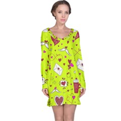 Valentin s Day Love Hearts Pattern Red Pink Green Long Sleeve Nightdress by EDDArt