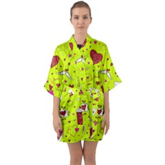 Valentin s Day Love Hearts Pattern Red Pink Green Quarter Sleeve Kimono Robe by EDDArt