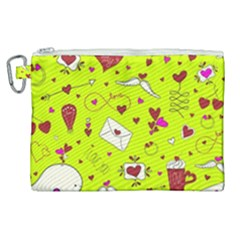 Valentin s Day Love Hearts Pattern Red Pink Green Canvas Cosmetic Bag (xl) by EDDArt