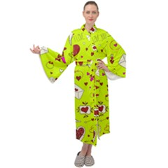 Valentin s Day Love Hearts Pattern Red Pink Green Maxi Tie Front Velour Kimono by EDDArt