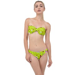 Valentin s Day Love Hearts Pattern Red Pink Green Classic Bandeau Bikini Set by EDDArt