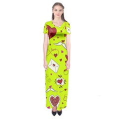 Valentin s Day Love Hearts Pattern Red Pink Green Short Sleeve Maxi Dress by EDDArt