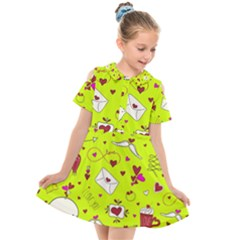 Valentin s Day Love Hearts Pattern Red Pink Green Kids  Short Sleeve Shirt Dress by EDDArt