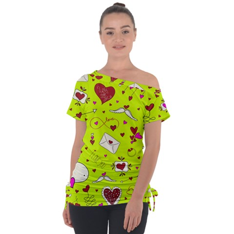 Valentin s Day Love Hearts Pattern Red Pink Green Tie-up Tee by EDDArt
