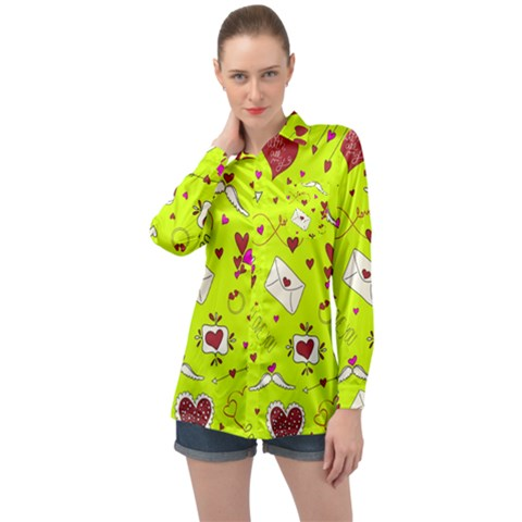 Valentin s Day Love Hearts Pattern Red Pink Green Long Sleeve Satin Shirt by EDDArt