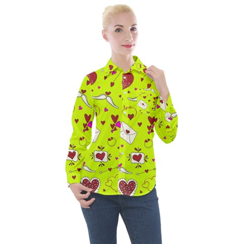 Valentin s Day Love Hearts Pattern Red Pink Green Women s Long Sleeve Pocket Shirt by EDDArt
