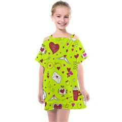 Valentin s Day Love Hearts Pattern Red Pink Green Kids  One Piece Chiffon Dress by EDDArt