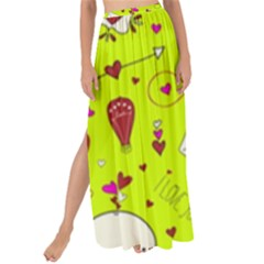 Valentin s Day Love Hearts Pattern Red Pink Green Maxi Chiffon Tie Up Sarong by EDDArt