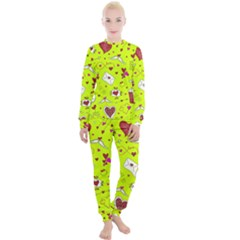 Valentin s Day Love Hearts Pattern Red Pink Green Women s Lounge Set by EDDArt