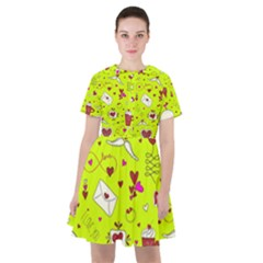 Valentin s Day Love Hearts Pattern Red Pink Green Sailor Dress by EDDArt