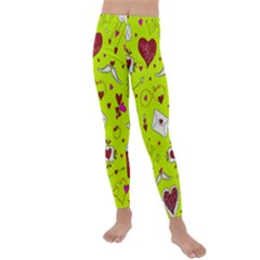 Valentin s Day Love Hearts Pattern Red Pink Green Kids  Lightweight Velour Leggings by EDDArt