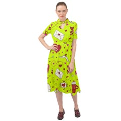 Valentin s Day Love Hearts Pattern Red Pink Green Keyhole Neckline Chiffon Dress by EDDArt