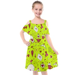 Valentin s Day Love Hearts Pattern Red Pink Green Kids  Cut Out Shoulders Chiffon Dress by EDDArt