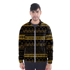 Native American Ornaments Watercolor Pattern Black Gold Men s Windbreaker by EDDArt