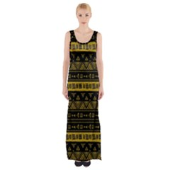 Native American Ornaments Watercolor Pattern Black Gold Maxi Thigh Split Dress by EDDArt