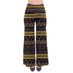 Native American Ornaments Watercolor Pattern Black Gold So Vintage Palazzo Pants by EDDArt