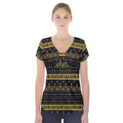 Native American Ornaments Watercolor Pattern Black Gold Short Sleeve Front Detail Top by EDDArt