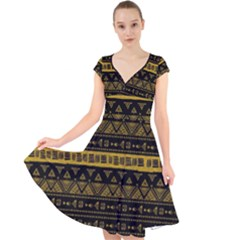Native American Ornaments Watercolor Pattern Black Gold Cap Sleeve Front Wrap Midi Dress by EDDArt