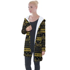 Native American Ornaments Watercolor Pattern Black Gold Longline Hooded Cardigan by EDDArt