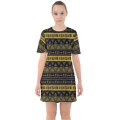 Native American Ornaments Watercolor Pattern Black Gold Sixties Short Sleeve Mini Dress by EDDArt