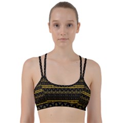 Native American Ornaments Watercolor Pattern Black Gold Line Them Up Sports Bra by EDDArt