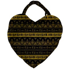 Native American Ornaments Watercolor Pattern Black Gold Giant Heart Shaped Tote by EDDArt