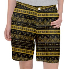 Native American Ornaments Watercolor Pattern Black Gold Pocket Shorts by EDDArt