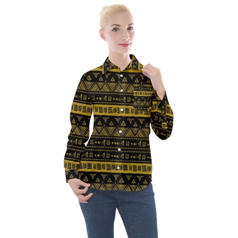 Native American Ornaments Watercolor Pattern Black Gold Women s Long Sleeve Pocket Shirt by EDDArt