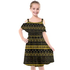 Native American Ornaments Watercolor Pattern Black Gold Kids  Cut Out Shoulders Chiffon Dress by EDDArt