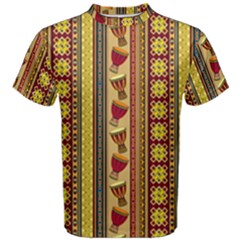 Traditional Africa Border Wallpaper Pattern Colored 4 Men s Cotton Tee by EDDArt