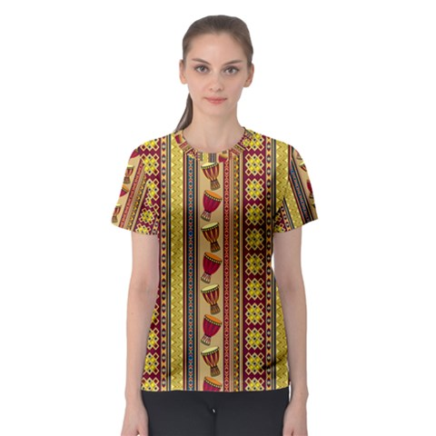 Traditional Africa Border Wallpaper Pattern Colored 4 Women s Sport Mesh Tee by EDDArt