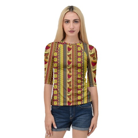 Traditional Africa Border Wallpaper Pattern Colored 4 Quarter Sleeve Raglan Tee by EDDArt