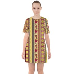Traditional Africa Border Wallpaper Pattern Colored 4 Sixties Short Sleeve Mini Dress by EDDArt
