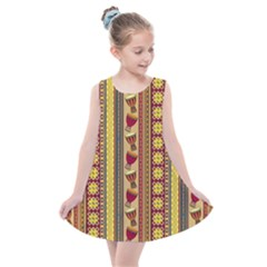 Traditional Africa Border Wallpaper Pattern Colored 4 Kids  Summer Dress by EDDArt